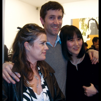 Angus Fairhurst at his solo show opening at Sadie Coles Gallery February 21, 2008 - with Abigail Lane and Yoko Brown