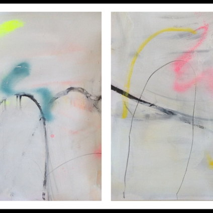 Alison McKenna, Untitled Diptych (2016), acrylic, flashe, spray paint, graphite on paper, two parts 41.5 x 29.5cm each