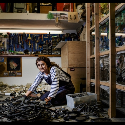 Maria Arceo in her studio
